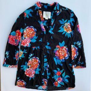 Anthropologie Floral Quarter Sleeve Blouse